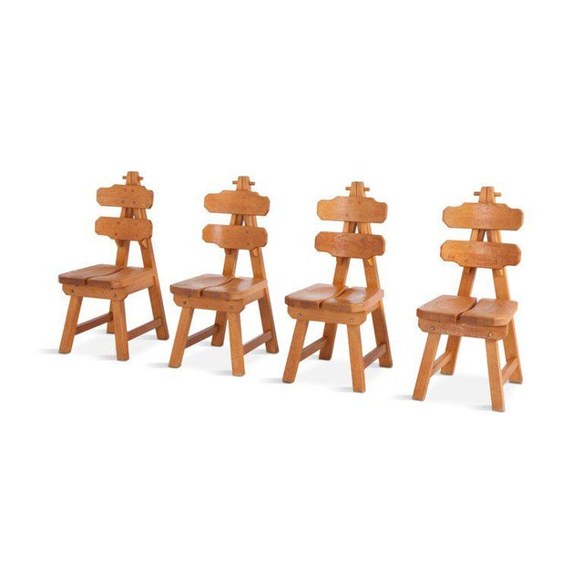 1960s Brutalist Oak Spanish Dining Chairs For Sale - Image 5 of 13