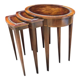 1950 Mid-Century Modern Weiman Furniture Company Leather Top Mahogany Nesting Tables - Set of 3