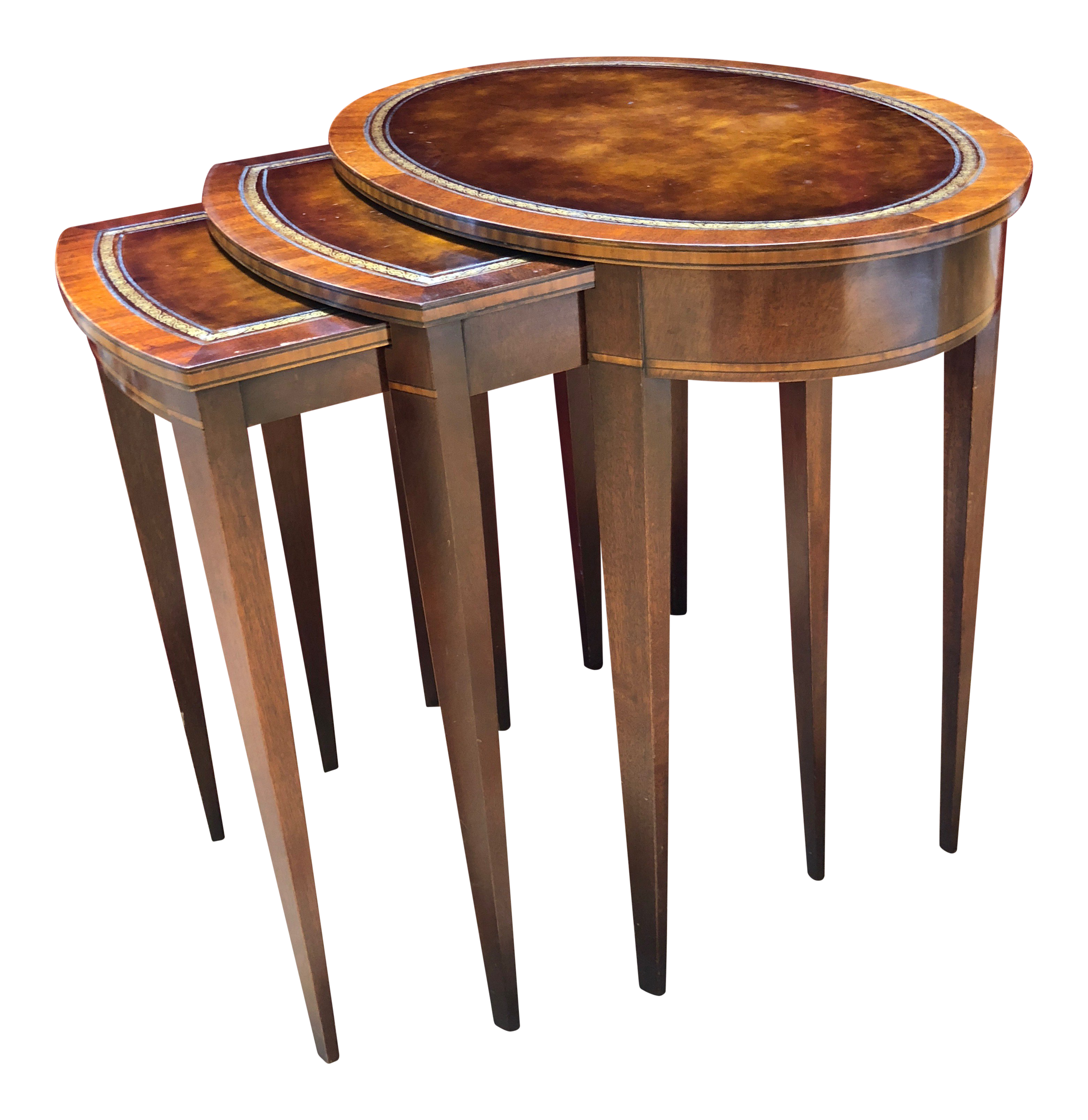 1950 Mid-Century Modern Weiman Furniture Company Leather Top Mahogany Nesting Tables - Set of  sc 1 st  Chairish & Vintage u0026 Used Nesting Tables for Sale | Chairish