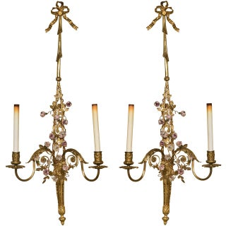 French Belle Epoque-Style Brass Sconces - a Pair For Sale