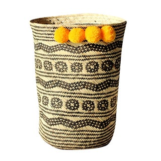 Borneo Tribal Drum Basket - With Marigold Yellow Pom-Poms For Sale