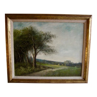 19th Century French Oil Painting Landscape Country Side by Lucien Henry Barbizon School For Sale