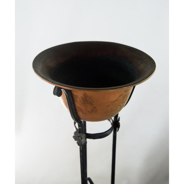 Antique Wrought Iron Copper Bowl Torchiere For Sale - Image 5 of 10