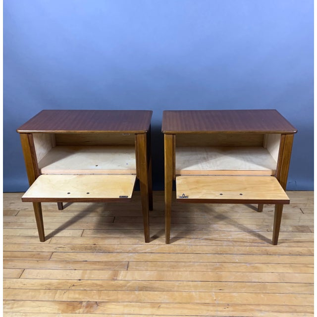 1950s Pair 1950s Drop-Front Nightstands, Mahogany & Brass For Sale - Image 5 of 9