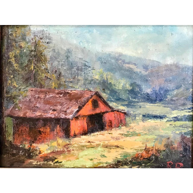1969 impressionistic oil on canvasboard by Ruth Buschbaum. The painting depicts a barn and landscape in Big Bear,...
