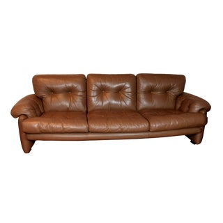 1970s Vintage Scandinavian Design Three Seat Leather Couch For Sale