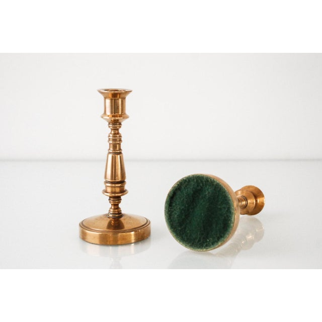 Vintage Classic Brass Candlestick Holders - A Pair For Sale - Image 5 of 6