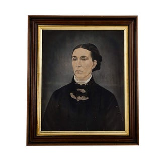 19th Century Antique American School Folk Art Portrait Oil on Board Painting For Sale