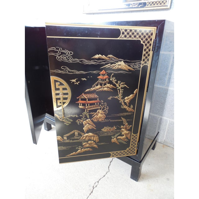 Black Drexel Et Cetera Black Lacquer Chinoiserie Decorated Console & Mirror For Sale - Image 8 of 12