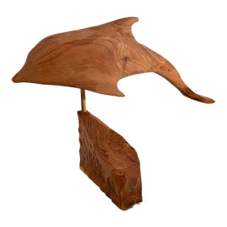 Late 20th Century Vintage Hand Carved Fish Sculpture For Sale