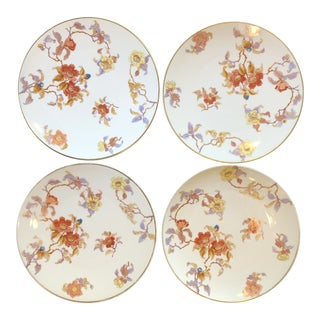 Late 19th Century Antique Pirkenhammer Floral Plates - Set of 4 For Sale