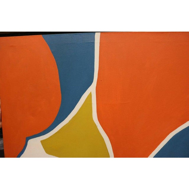 Large-scale hard edge painting in bright blue, orange, mustard and white signed Antonia Davis. The work calls to mind the...