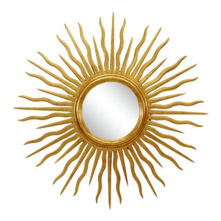 French Mid-Century Style Gilt Sunburst Wall Mirror For Sale