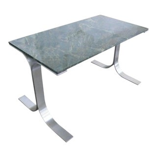 Spectacular Green Quartz and Stainless Steel Desk For Sale