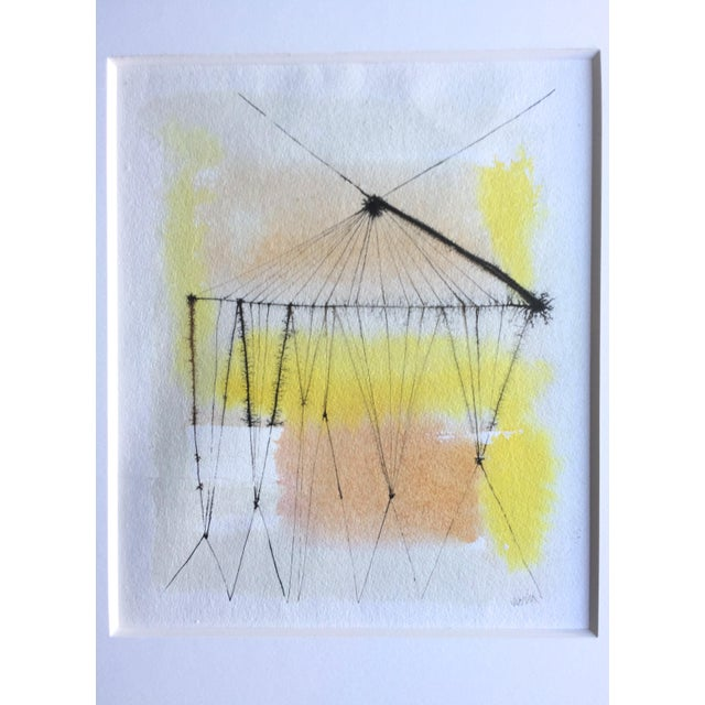 1960s Anita Simpson Watercolor and Ink Abstract - Image 3 of 9