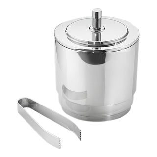 Georg Jensen Stainless Steel Manhattan Ice Bucket Large W/ Tongs New For Sale