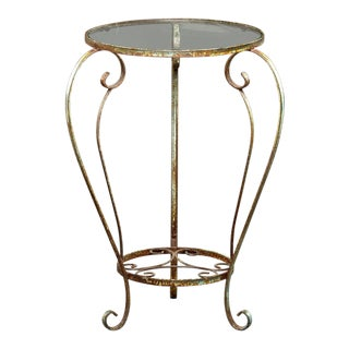 Round French Side Table With Iron Frame and Glass Top For Sale