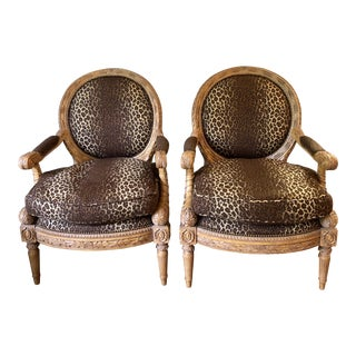1990s Vintage Maitland Smith Wood and Upholstered Louis XVI Style Chairs- a Pair For Sale