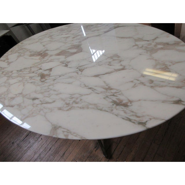 """Florence Knoll 78"""" Calacatta Marble Top Oval Table Desk For Sale In New York - Image 6 of 8"""