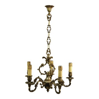 French Bronze Louis XVI 5-Light Chandelier