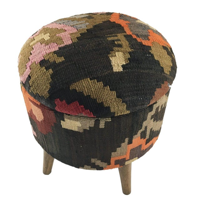 Rug & Relic, Inc. One-Of-A-Kind Kilim Pouf | Ottoman With Storage For Sale - Image 4 of 4
