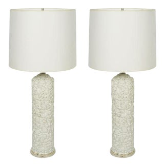 French White Plaster Pebble Table Lamps - a Pair For Sale