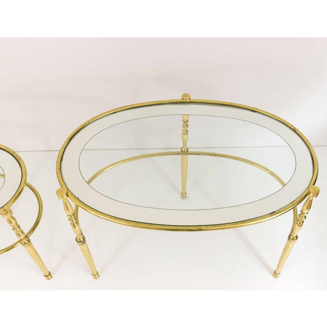 Interesting Oval Brass Nesting Tables, Circa 1940 - Image 3 of 8