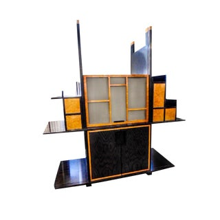 1970s Mid-Century Modern Modular Leon Rosen for Pace Collection New York Tiger Ebony and Birdseye Maple Cabinet