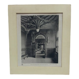 """1895 Antique Theo. C. Link """"Entrance to Dining Hall From Gothic Corridor"""" Matted Chemigraph Print For Sale"""