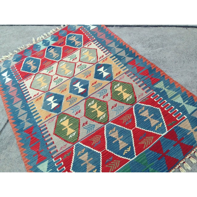"Boho Chic Turkish Handwoven Wool Kilim Rug - 4'2"" X 5'11"" For Sale - Image 3 of 10"