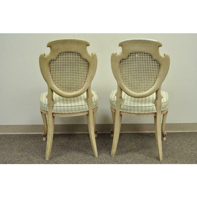 1950s Vintage Scroll Carved Italian Hollywood Regency Cream Pink Cane Back Dining Chairs- 4 Pieces For Sale - Image 10 of 11