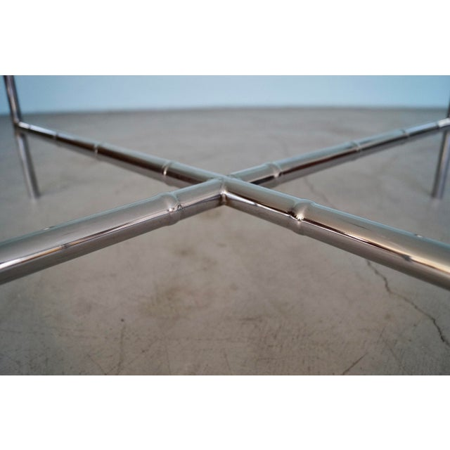 1960s Hollywood Regency Chrome Bamboo Coffee Table For Sale - Image 11 of 13