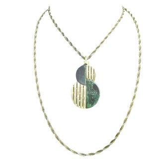 Trifari Sleek Gilt Metal Lucite Pendant Necklace C 1970 For Sale