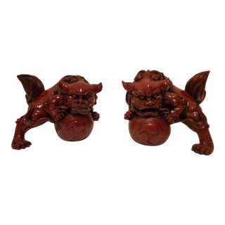Vintage Chinese Feng Shui Lucky Lion Foo Dogs - a Pair For Sale