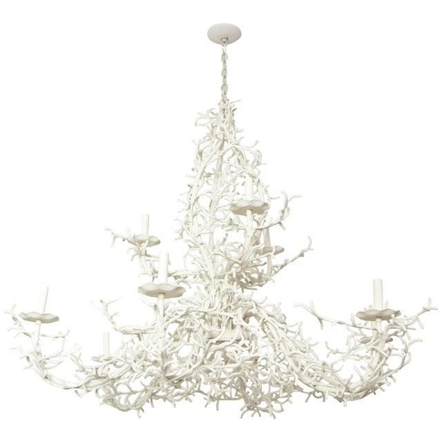Large Nine-Arm Coral Chandelier For Sale - Image 9 of 9