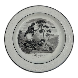 French Transferware Hunt Theme Plate For Sale