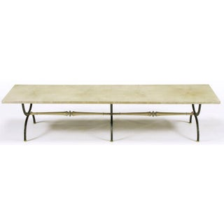 Tomlinson Driftwood Glazed Coffee Table With Triple-Curule Forged Iron Base Preview