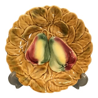 Sarraguemines French Majolica Pear Fruit Plate