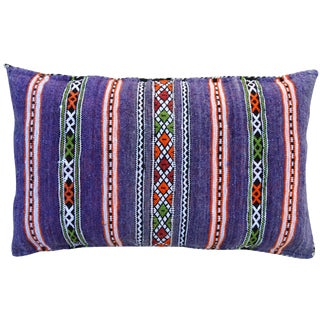 Late 20th Century Purple Striped Moroccan Pillow For Sale