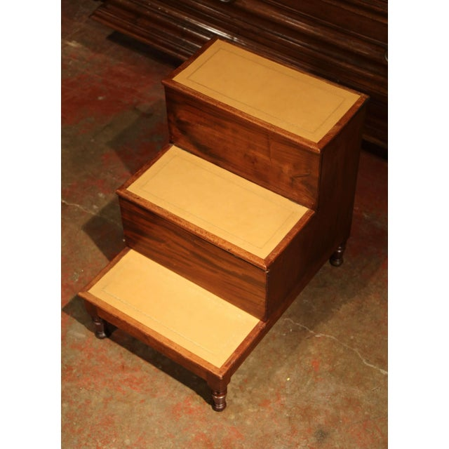 19th Century English Mahogany Leather Top Library Step Ladder With Storage For Sale - Image 4 of 13