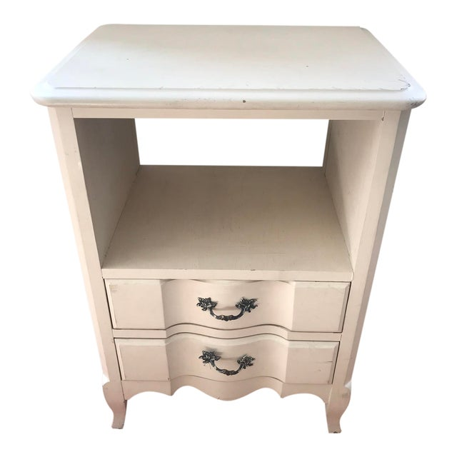 1960s Vintage French Inspired Distressed Nightstand For Sale