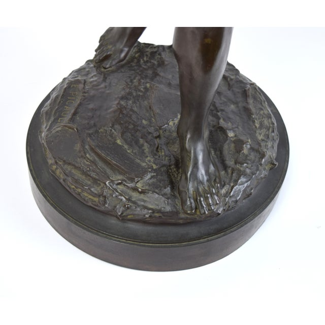 "Metal ""The Whaler"" Antique Emile Louis Picault French Bronze Sculpture For Sale - Image 7 of 9"