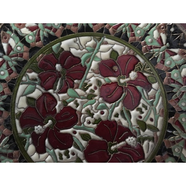 Hand Painted Floral Butterfly Cloisonné Decorative Plate For Sale - Image 4 of 11