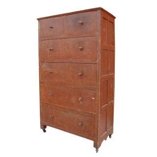Folk Art Grain Painted Chest of Drawers For Sale