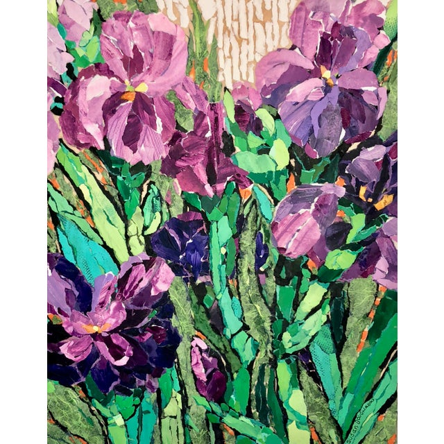 Purple Irises II This is a floral collage on a wood board. It is made with hand-painted papers done in acrylic paint which...
