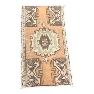 Vintage Aztec Turkish Handmade Wool Door Mat Rug For Sale