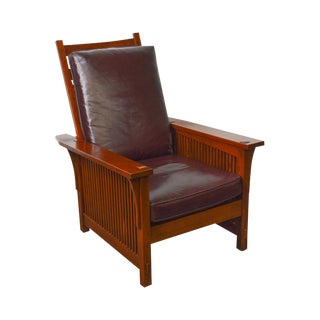 Stickley Mission Collection Cherry Compact Spindle Morris Chair W/ Loose Leather Cushions