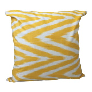 Contemporary Yellow Chevron Ikat Pillow Cover For Sale