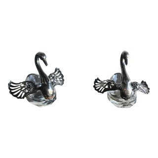 Sterling Cut Glass Salts in Swan Form - A Pair