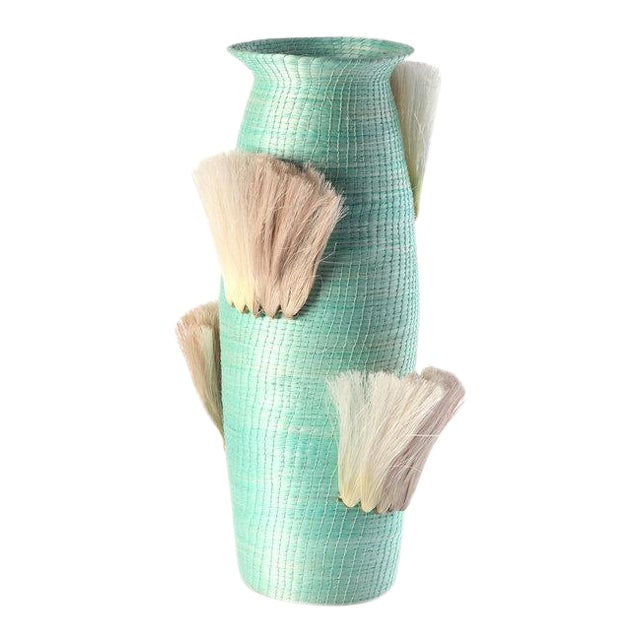 Fanned Out Large Tall Vase Turquoise & Flax Fans For Sale